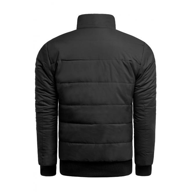 Pánská zimní bunda s prošíváním v černé barvě