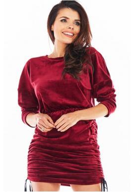 Dámské velurové šaty s nastavitelnou délkou v bordové barvě