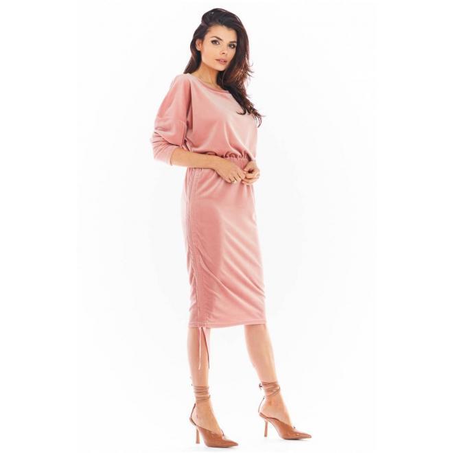 Růžové velurové šaty s nastavitelnou délkou pro dámy