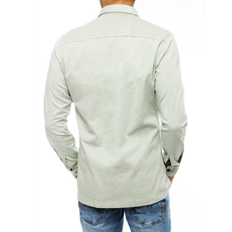 Pánská riflová košile s kapsami v mátové barvě