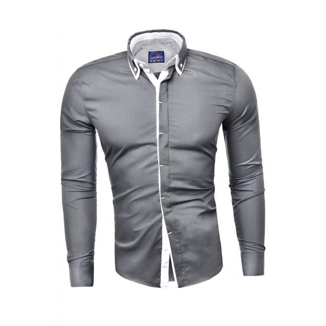 Pánská přiléhavá košile s dlouhým rukávem v ocelové barvě