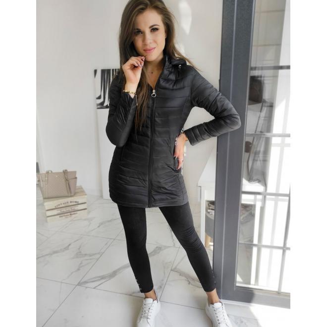 Černá prošívaná bunda s kapucí pro dámy