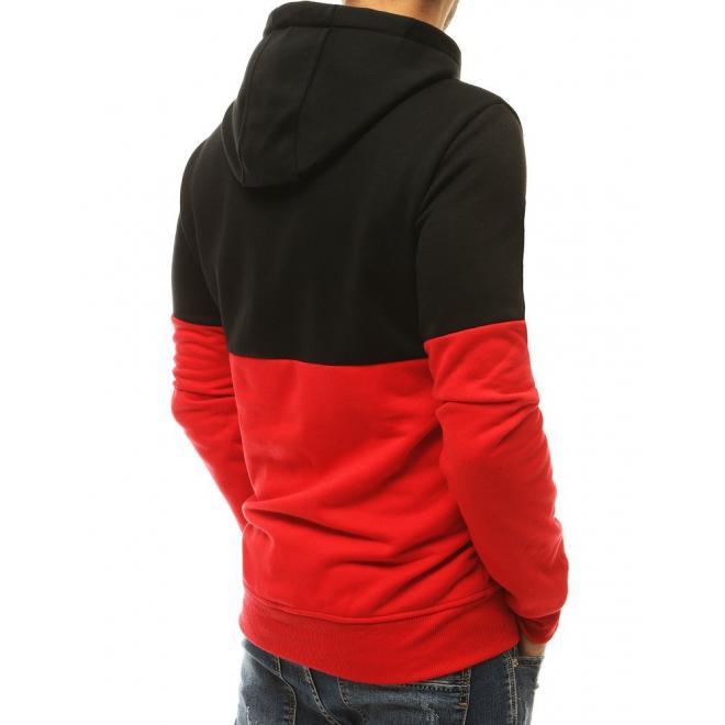 Pánská sportovní mikina s kapucí v červeno-černé barvě