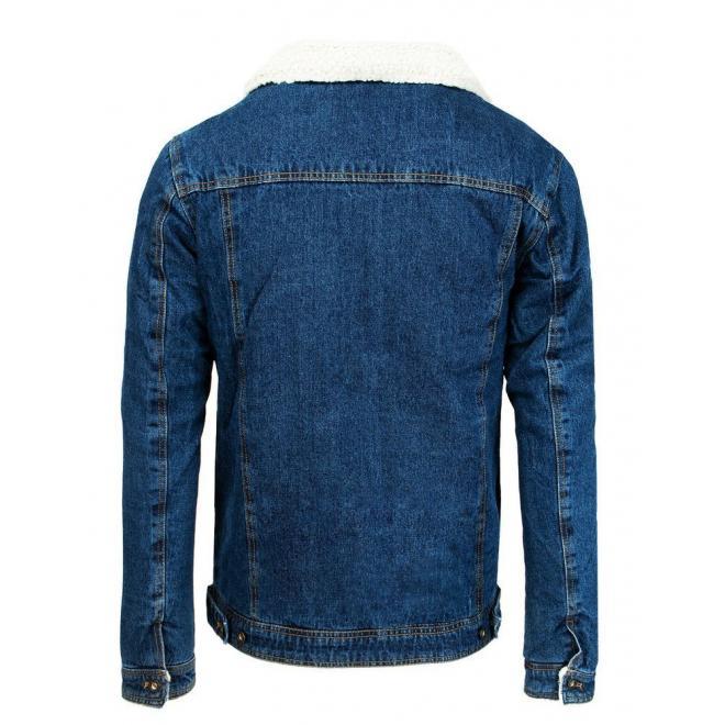 Modrá riflová bunda s kožešinou pro pány