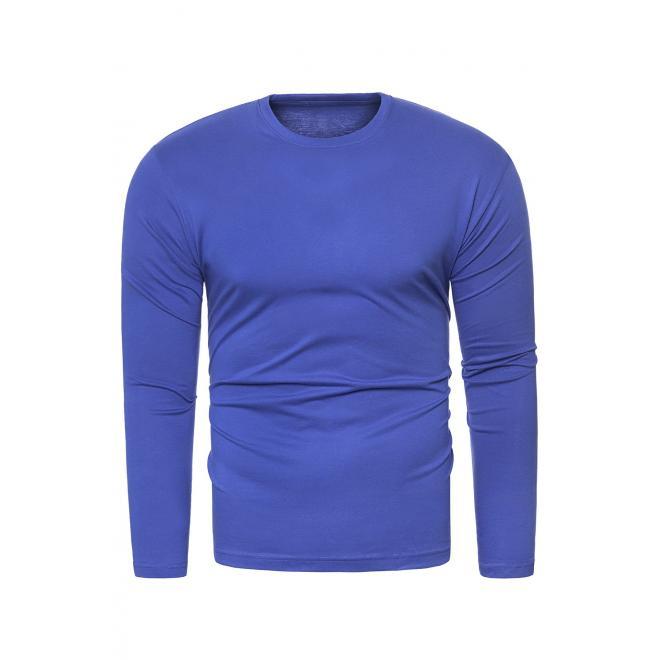 Pánské klasické tričko s dlouhým rukávem v modré barvě