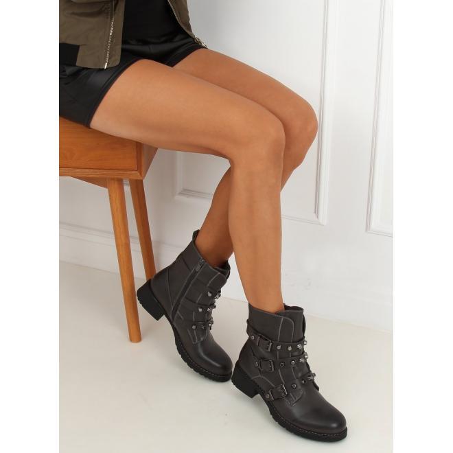 Dámské vojenské boty s vybíjením v šedé barvě