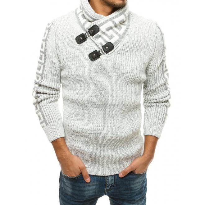 Bílý vlněný svetr s vysokým límcem pro pány