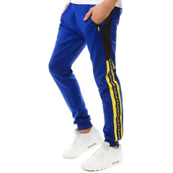 Modré stylové tepláky s potiskem pro pány