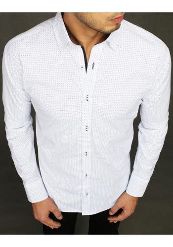 Bílá vzorovaná košile s dlouhým rukávem pro pány ve slevě