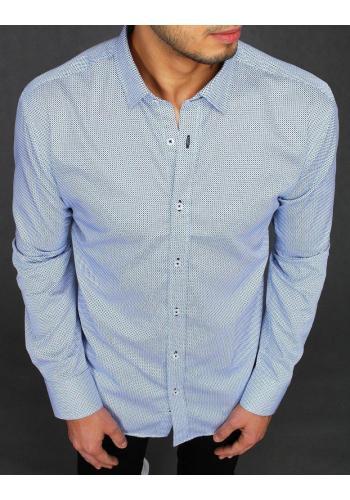 Pánská bavlněná košile se vzorem v bílé barvě ve výprodeji