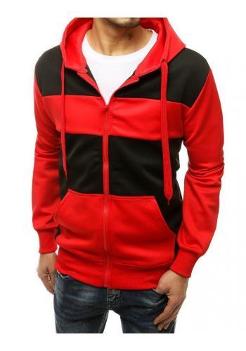 Sportovní pánská mikina červeno-černé barvy s kapucí
