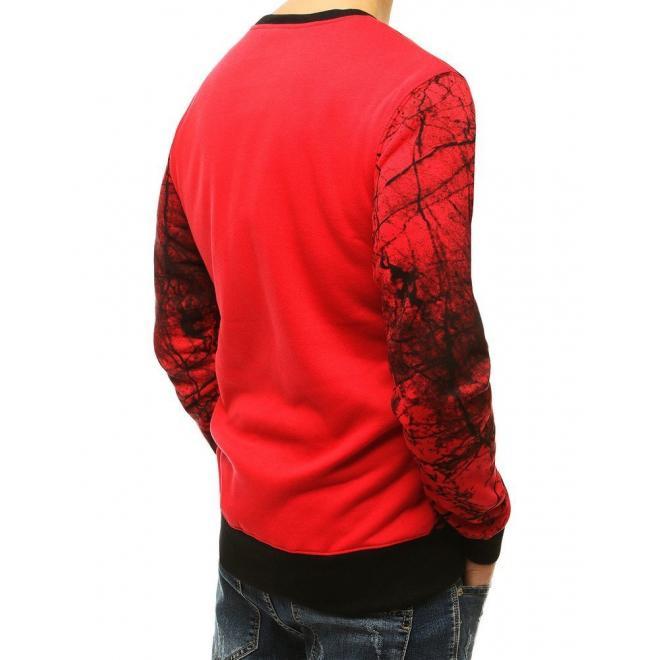 Stylové pánské mikiny červené barvy s potiskem