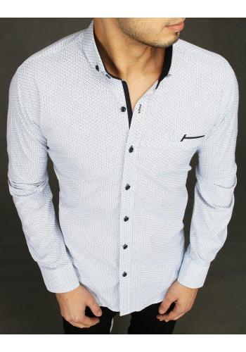 Pánská elegantní košile se vzorem v bílé barvě