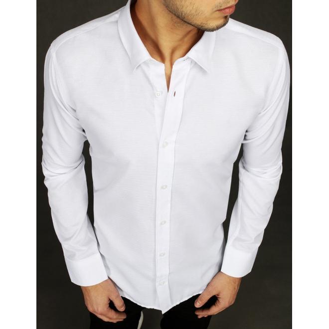 Pánská elegantní košile s dlouhým rukávem v bílé barvě