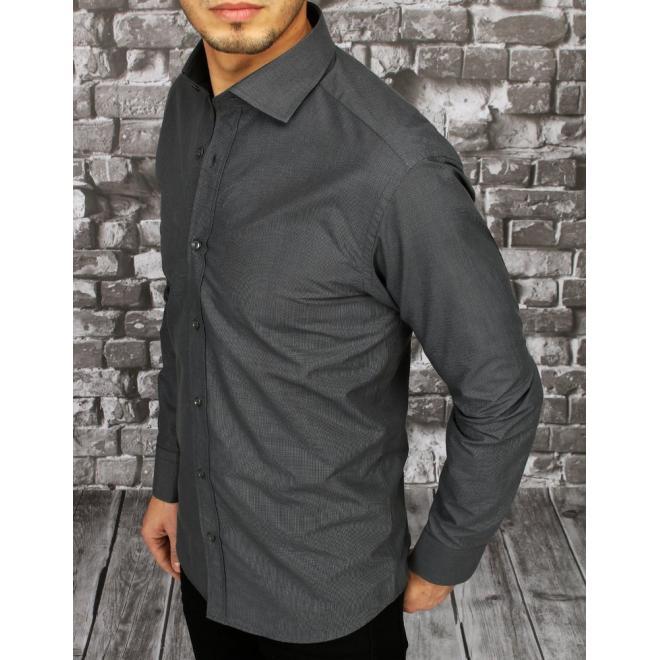 Tmavě šedá kostkovaná košile s dlouhým rukávem pro pány