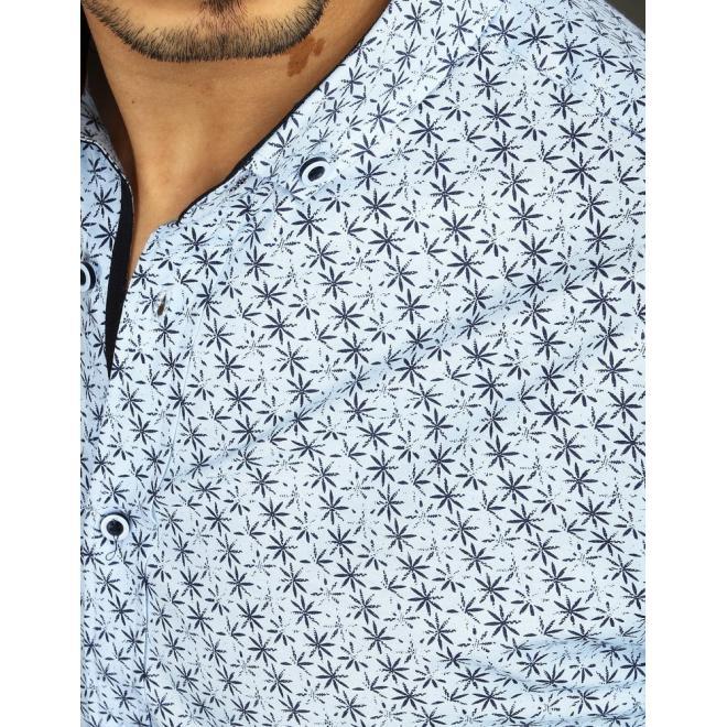 Pánská vzorovaná košile s dlouhým rukávem v světle modré barvě