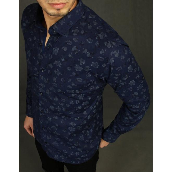 Módní pánská košile tmavě modré barvy se vzorem
