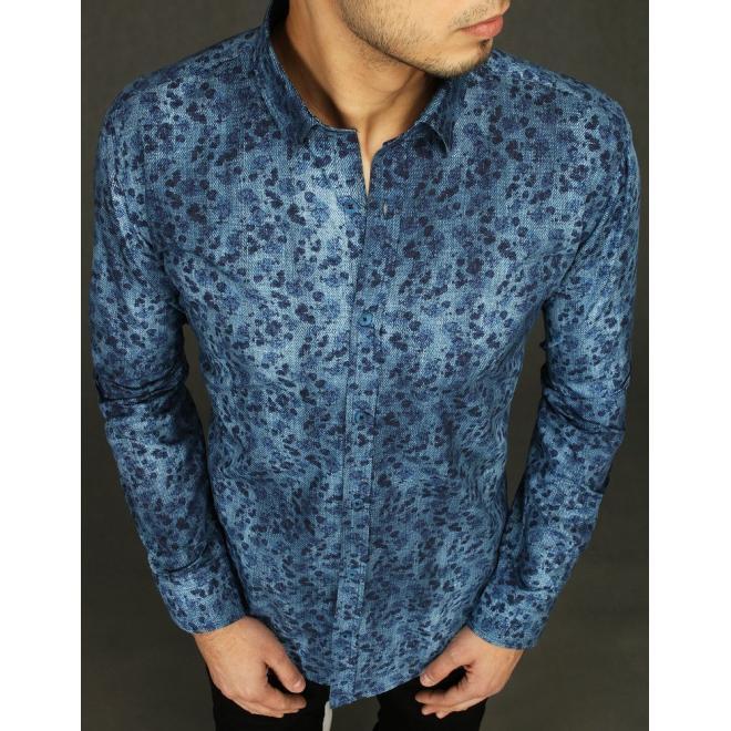 Pánská bavlněná košile se vzorem v modré barvě