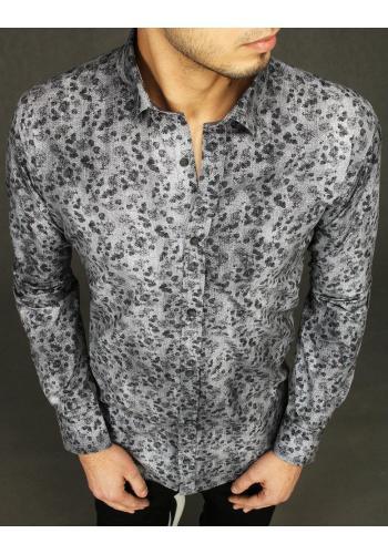Šedá bavlněná košile se vzorem pro pány