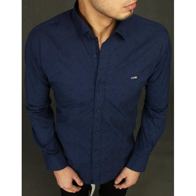 Vzorované pánské košile tmavě modré barvy s dlouhým rukávem