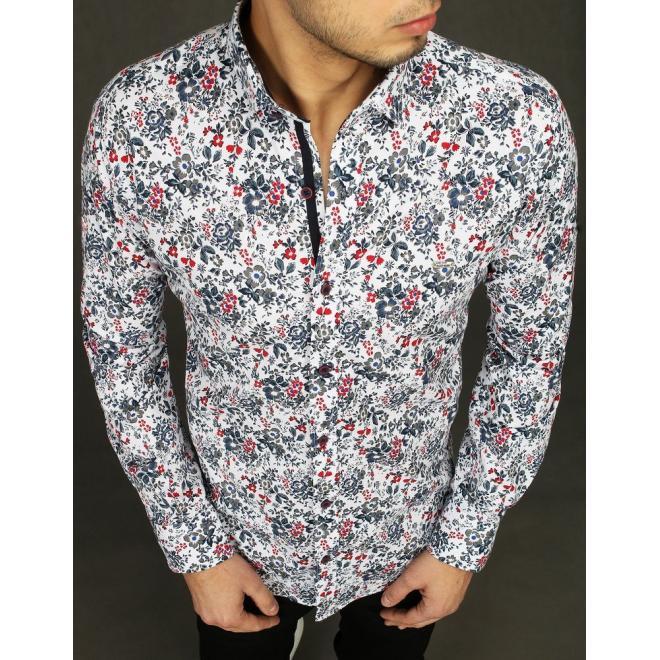 Pánská květovaná košile s dlouhým rukávem v bílé barvě