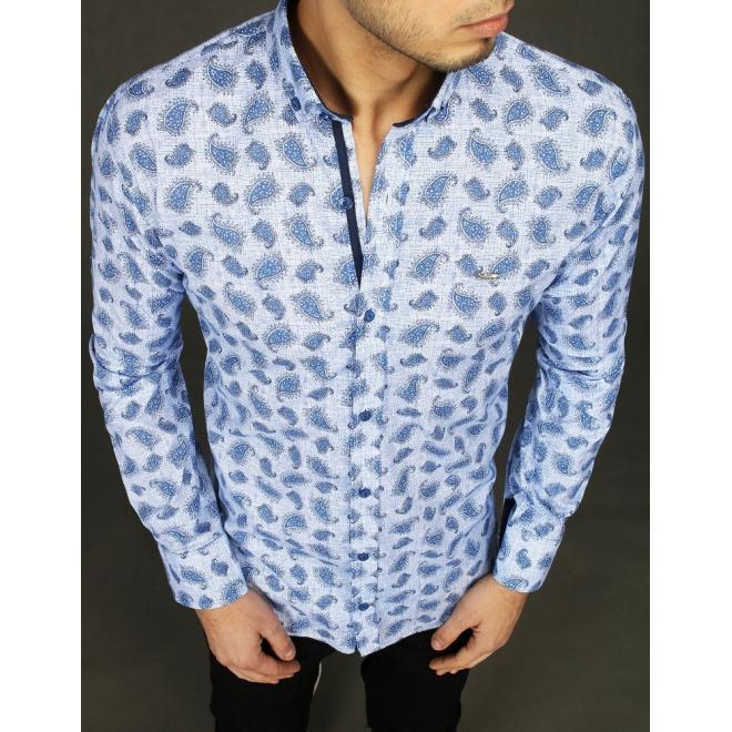 Módní pánská košile světle modré barvy se vzorem