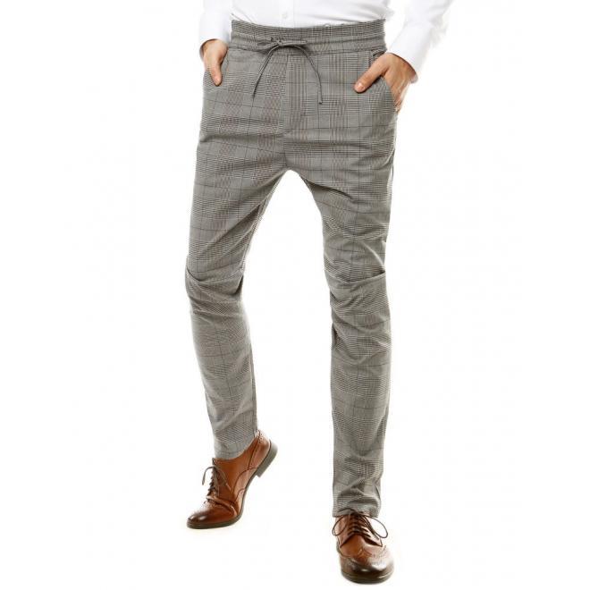 Pánské kostkované kalhoty s vázáním v pase v šedé barvě