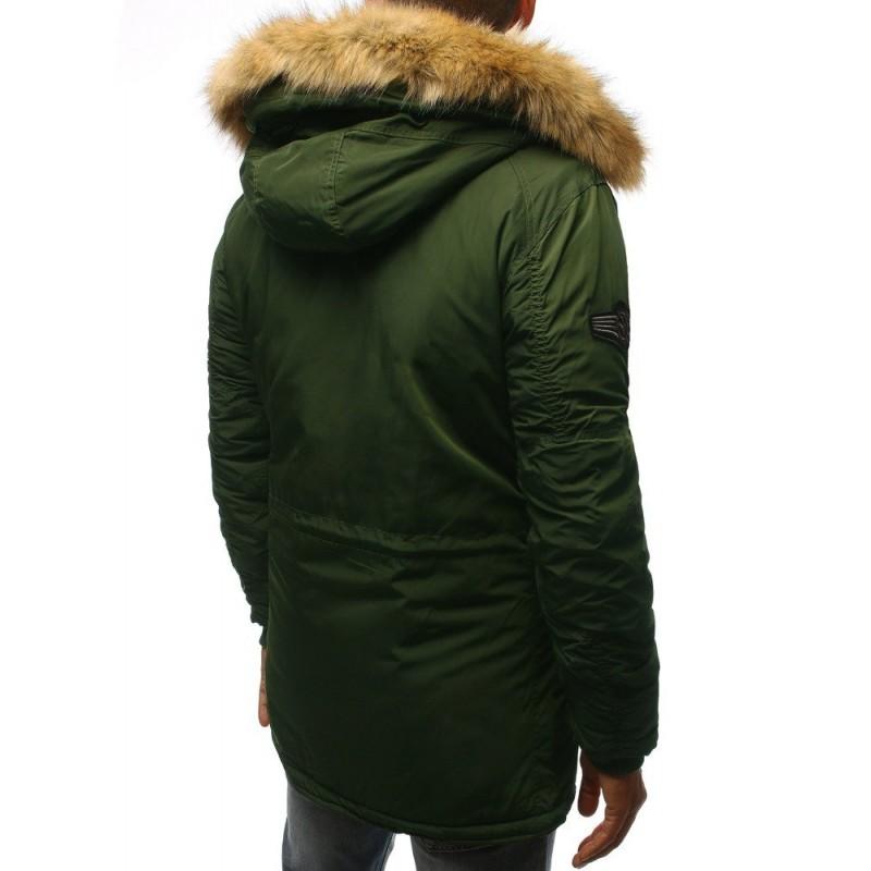 Zelená zimní Parka s kapucí pro pány