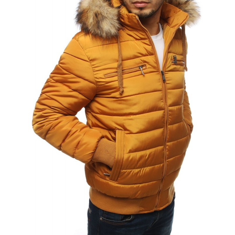 Velbloudí prošívaná bunda na zimu pro pány