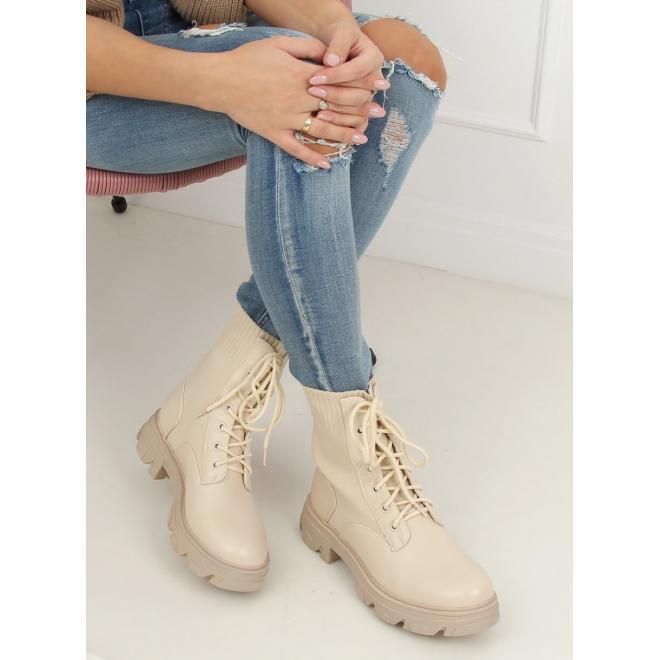 Přechodné dámské boty béžové barvy s ponožkovým svrškem