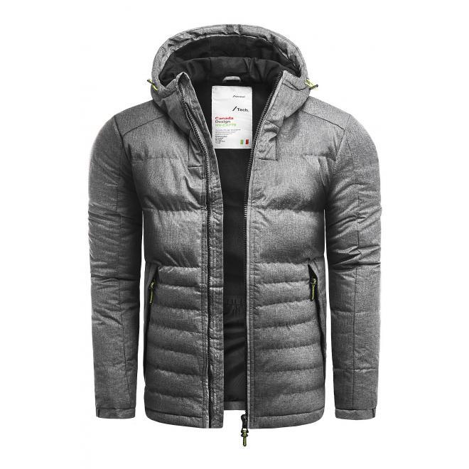 Zimní pánská bunda šedé barvy s prošíváním