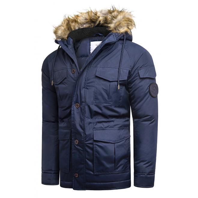 Pánské zimní bundy s kapucí v tmavě modré barvě