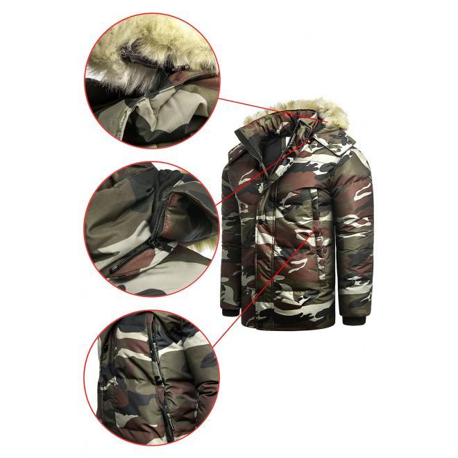 Zeleno-hnědá maskáčová bunda na zimu pro pány