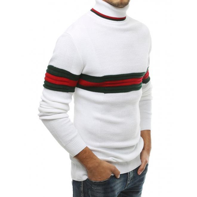 Pánský stylový rolák s kontrastními pásy v bílé barvě