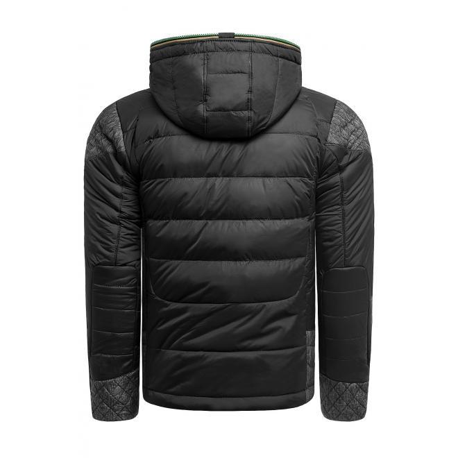Pánská zimní bunda s kapucí v černé barvě