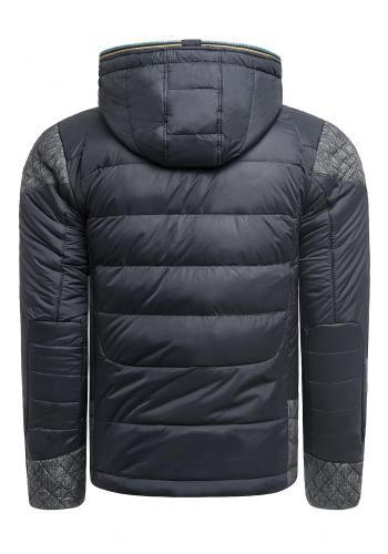 Zimní pánská bunda tmavě modré barvy s kapucí