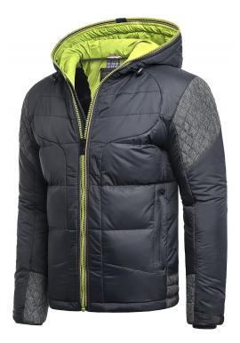 Modro-zelená zimní bunda s kapucí pro pány
