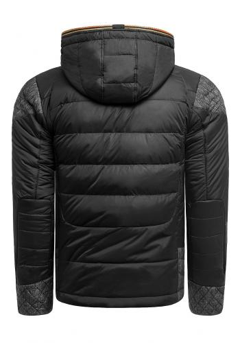 Pánská zimní bunda s kapucí v černo-oranžové barvě