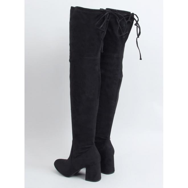 Černé klasické kozačky nad kolena na podpatku pro dámy