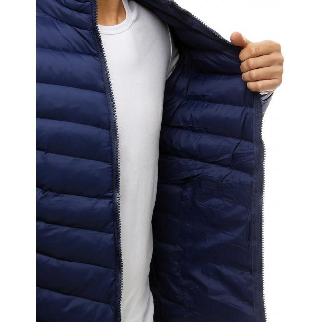Tmavě modrá prošívaná bunda na přechodné období pro pány