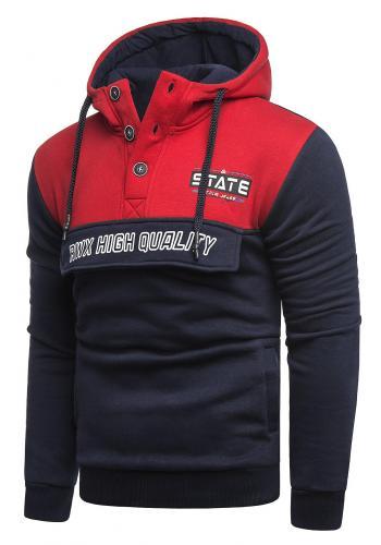Červeno-modrá stylová mikina s potiskem pro pány