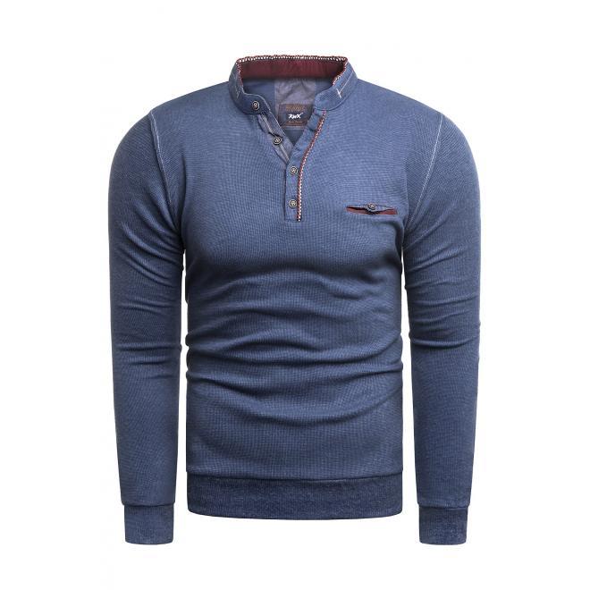Modrý klasický svetr se zapínaným výstřihem pro pány