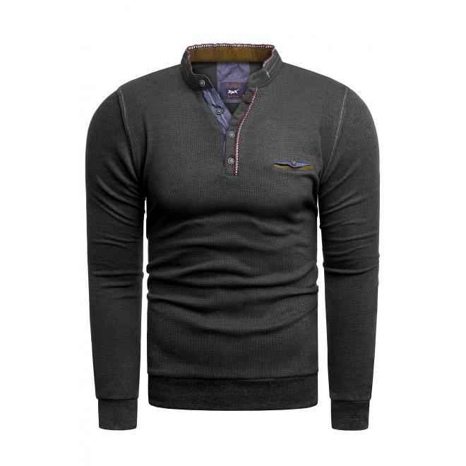 Černý klasický svetr se zapínaným výstřihem pro pány