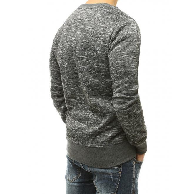 Pánská melanžová mikina bez kapuce v tmavě šedé barvě