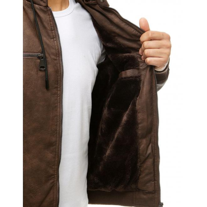 Hnědá přechodná koženka s odepínací kapucí pro pány