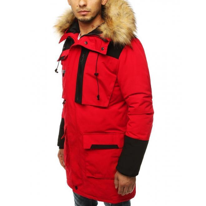 Pánská dlouhá bunda na zimu v červené barvě