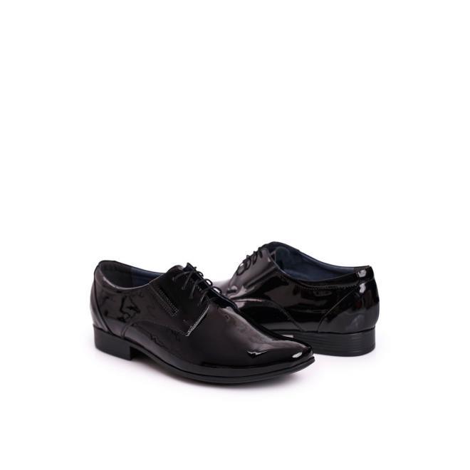 Lakované pánské kožené mokasíny černé barvy