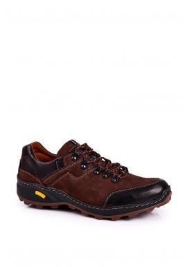 Hnědé kožené trekingové boty pro pány
