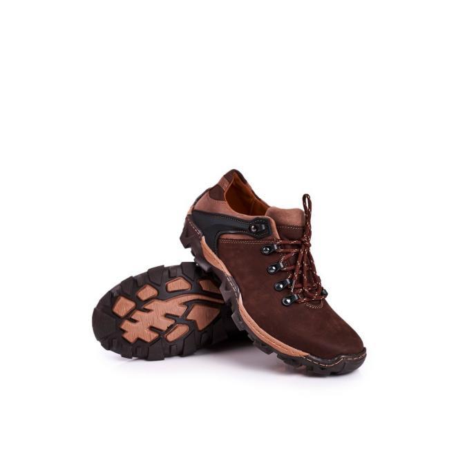 Kožené trekingové pánské boty hnědé barvy