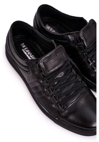 Sportovní kožené pánské polobotky černé barvy